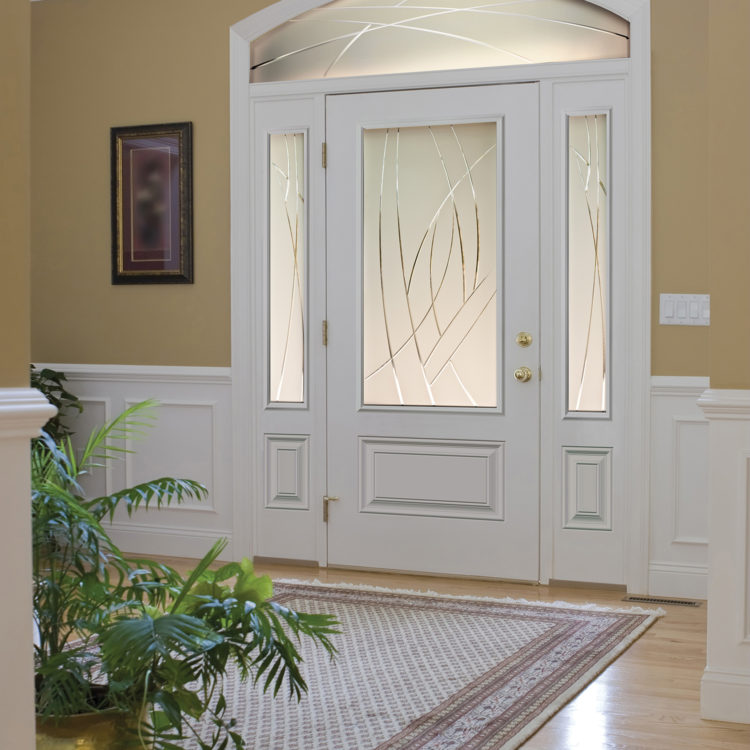 Gorgeous White Steel door with sidelites and transom